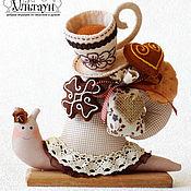 Куклы и игрушки ручной работы. Ярмарка Мастеров - ручная работа Улитка тильда улиточка подарок чайно-кофейная Печенька. Handmade.