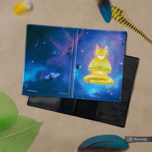 Обложки ручной работы. Ярмарка Мастеров - ручная работа. Купить Обложка «Кот в медитации». Handmade. Тёмно-синий, Кошки, медитация