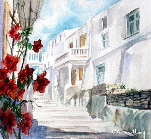 """Пейзаж ручной работы. Ярмарка Мастеров - ручная работа. Купить акварель """"красные цветы на белом солнце"""". Handmade. Лето, солнце"""
