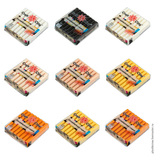 верхний ряд: 1001 белый, 1002 черный, 1003 полупрозрачный средний ряд: 1004 телесный светлый, 1005 телесный натуральный, 1006 желтый нижний ряд: 1007 оранжевый, 1008 лимонный, 1009 апельсиновый