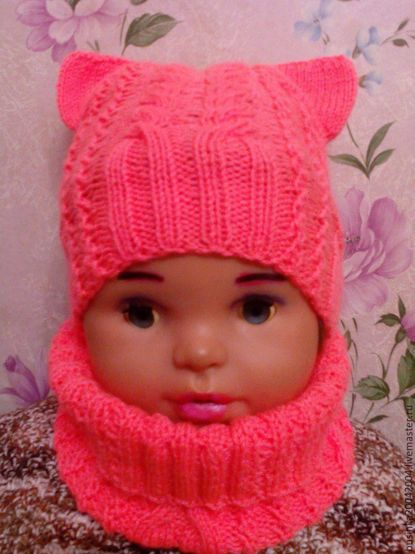 Вяжем спицами шапочку для девочки с ушками 195