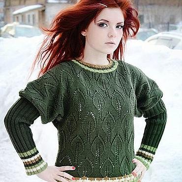 """Одежда ручной работы. Ярмарка Мастеров - ручная работа Пуловер """"Зеленый Шум"""". Handmade."""