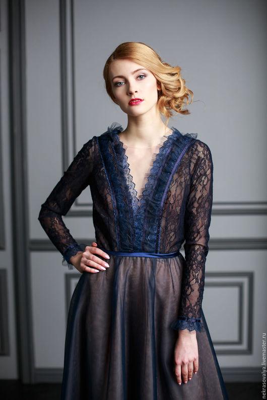 """Платья ручной работы. Ярмарка Мастеров - ручная работа. Купить """"Ноелла"""" вечернее платье. Handmade. Тёмно-синий, платье вечернее"""