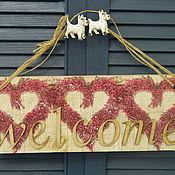 Аксессуары ручной работы. Ярмарка Мастеров - ручная работа Табличка-вывеска подвес на дверь WELCOME. Handmade.