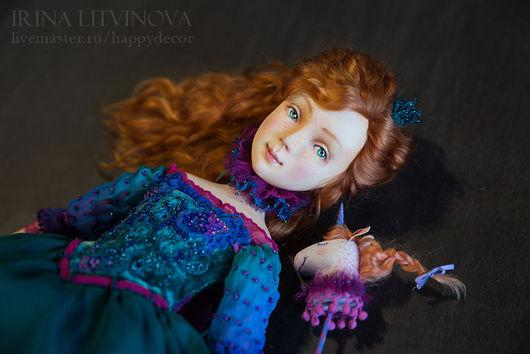 Коллекционные куклы ручной работы. Ярмарка Мастеров - ручная работа. Купить Маруся и Единорог. Handmade. Тёмно-бирюзовый, эксклюзивный подарок