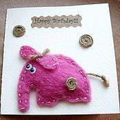 """Открытки ручной работы. Ярмарка Мастеров - ручная работа Открытка """"Розовый слоник"""". Handmade."""