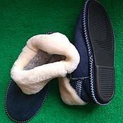 Обувь ручной работы handmade. Livemaster - original item Sheepskin chuni are blue.Solid sole. Handmade.