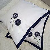 Для дома и интерьера handmade. Livemaster - original item Pillow: Pillow in white color scheme with embroidery