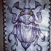"""Канцелярские товары ручной работы. Ярмарка Мастеров - ручная работа Кожаная обложка """"Жил-был жук"""". Handmade."""