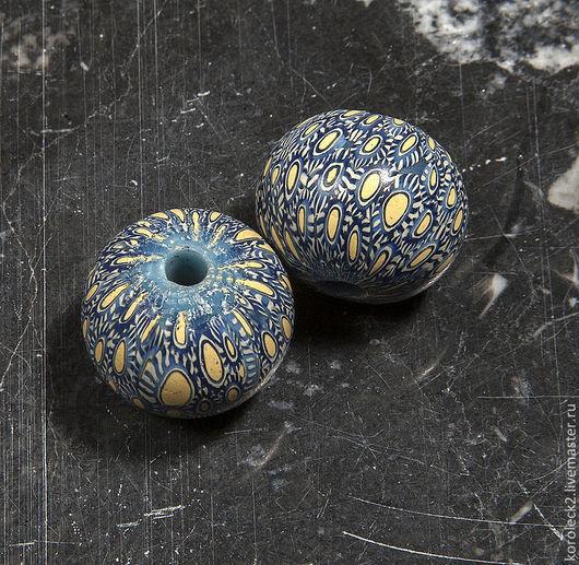 Для украшений ручной работы. Ярмарка Мастеров - ручная работа. Купить Синие мозаичные стеклянные бусины диаметром 21 мм. Handmade.