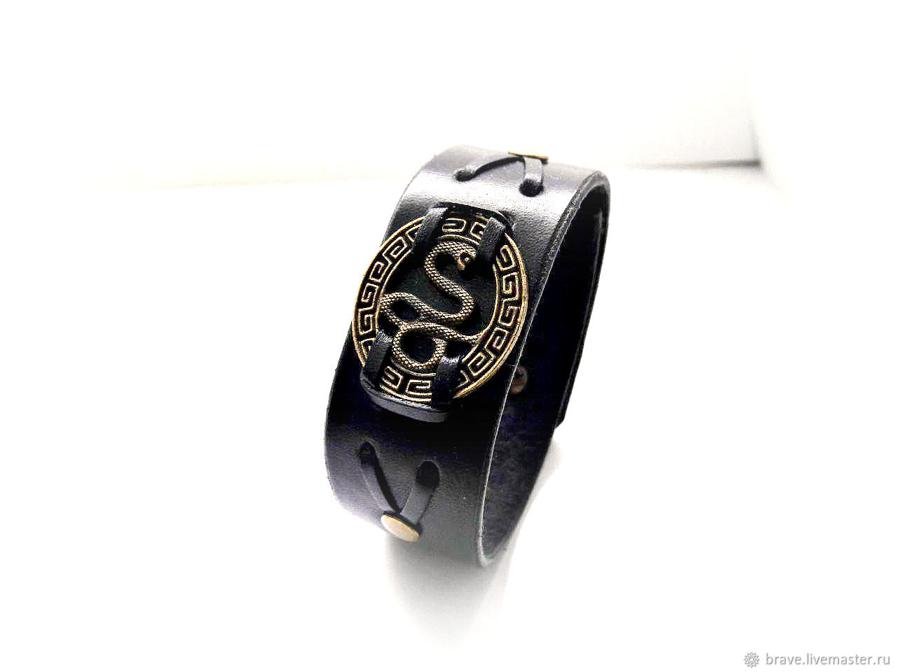 Leather bracelet with snake for men, Cuff bracelet, Moscow,  Фото №1