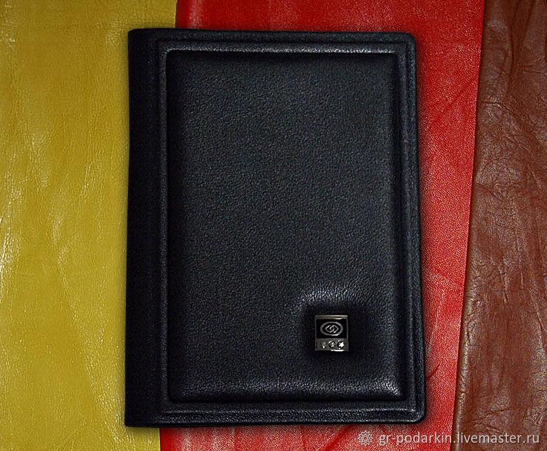 """Обложка на паспорт """"Ваше благородие"""" из натуральной черной кожи, Passport cover, Essentuki,  Фото №1"""