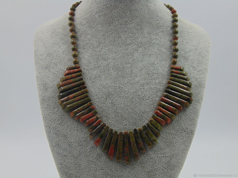 Necklace made of natural stones of unakite 'Mood', Necklace, Velikiy Novgorod,  Фото №1
