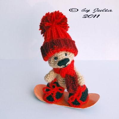 Игрушки животные, ручной работы. Ярмарка Мастеров - ручная работа. Купить Мишка-сноубордист (в красном). Handmade. Авторская игрушка