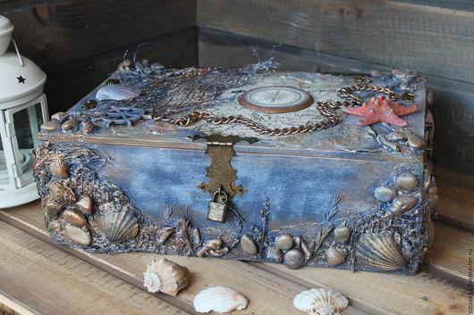 Корзины, коробы ручной работы. Ярмарка Мастеров - ручная работа. Купить Пиратский сундук( короб для вина). Handmade. Синий