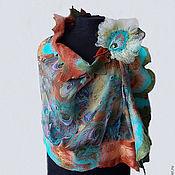 """Аксессуары ручной работы. Ярмарка Мастеров - ручная работа валяный палантин """"Павлиньи перья"""". Handmade."""