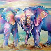Картины и панно handmade. Livemaster - original item Oil painting with elephants Together forever, 60/70 cm. Handmade.