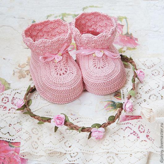 """Для новорожденных, ручной работы. Ярмарка Мастеров - ручная работа. Купить Пинетки для маленькой принцессы """"Роузи"""", пинетки для девочки. Handmade."""