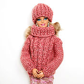 Одежда для кукол ручной работы. Ярмарка Мастеров - ручная работа Одежда для куклы барби свитер для куклы барби одежда для кукол розовый. Handmade.