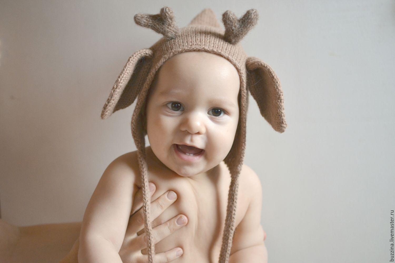 Шапочка Олененок для ребенка 44-46см теплая детская шапочкао, Шапки, Москва, Фото №1