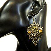Субкультуры handmade. Livemaster - original item Steampunk earrings YARILO amulet made of bronze. Handmade.