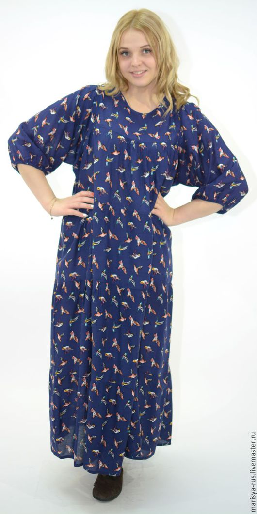 """Платья ручной работы. Ярмарка Мастеров - ручная работа. Купить Платье классика """"Птичка-невеличка"""". Handmade. Тёмно-синий"""