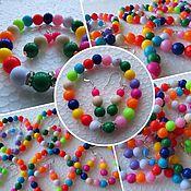 Работы для детей, ручной работы. Ярмарка Мастеров - ручная работа Детская бижутерия: серьги и браслет. Handmade.