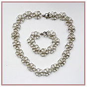 Jewelry Sets handmade. Livemaster - original item Set necklace and bracelet of light silver color metal tracery. Handmade.