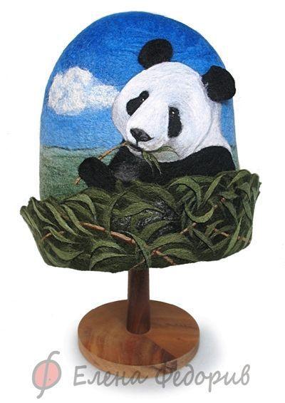 """Банные принадлежности ручной работы. Ярмарка Мастеров - ручная работа. Купить Шапка для бани """"Панда"""". Handmade. Панда, подарок, шерсть"""