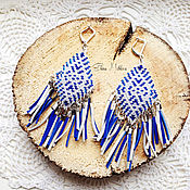 Украшения ручной работы. Ярмарка Мастеров - ручная работа Серьги из бисера в индейском стиле с замшевой бахромой. Синие. Handmade.