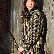 Пальто ручной работы. Ярмарка Мастеров - ручная работа Демисезонное шерстяное пальто на подкладе с утеплителем, гусиная лапка. Handmade.