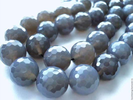 Для украшений ручной работы. Ярмарка Мастеров - ручная работа. Купить Агат серый крупные граненые шарики 20мм. Handmade.