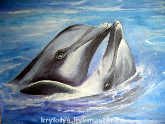 Животные ручной работы. Ярмарка Мастеров - ручная работа. Купить Картина.Живопись.Дельфины -дуэт. Handmade. Голубой, анималистика, дельфины