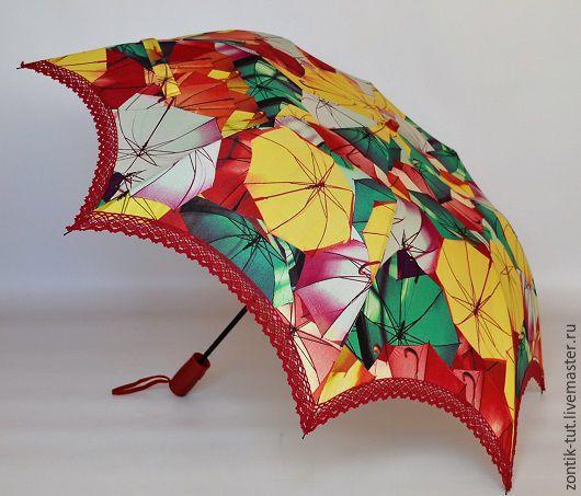 """Зонты ручной работы. Ярмарка Мастеров - ручная работа. Купить Зонт складной от солнца """"Зонтичное настроение"""". Handmade. Бордовый, защита"""