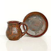 Посуда ручной работы. Ярмарка Мастеров - ручная работа Чайная пара керамическая чашка с блюдцем Вечерняя. Handmade.
