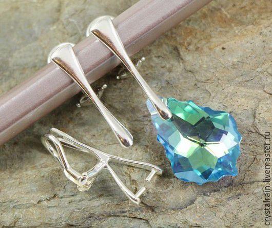 Для украшений ручной работы. Ярмарка Мастеров - ручная работа. Купить Клипсы для кристаллов и камней, серебро 925пр, С535. Handmade.