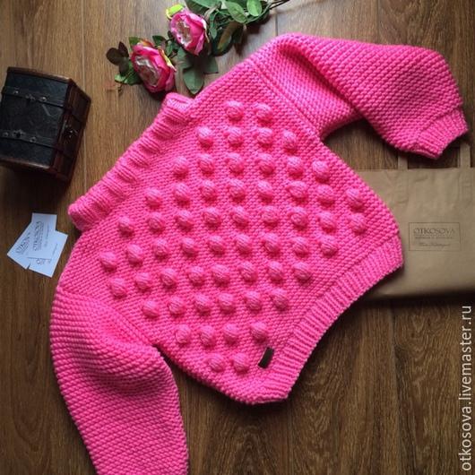 """Кофты и свитера ручной работы. Ярмарка Мастеров - ручная работа. Купить Вязаный свитер ручной вязки """"Пампушки"""". Handmade. розовый"""