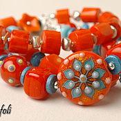 Украшения handmade. Livemaster - original item Coral bracelet and earrings. Handmade.