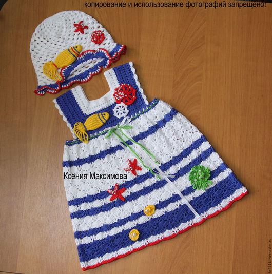 Одежда для девочек, ручной работы. Ярмарка Мастеров - ручная работа. Купить платье для девочки Морские приключения авт.работа. Handmade.