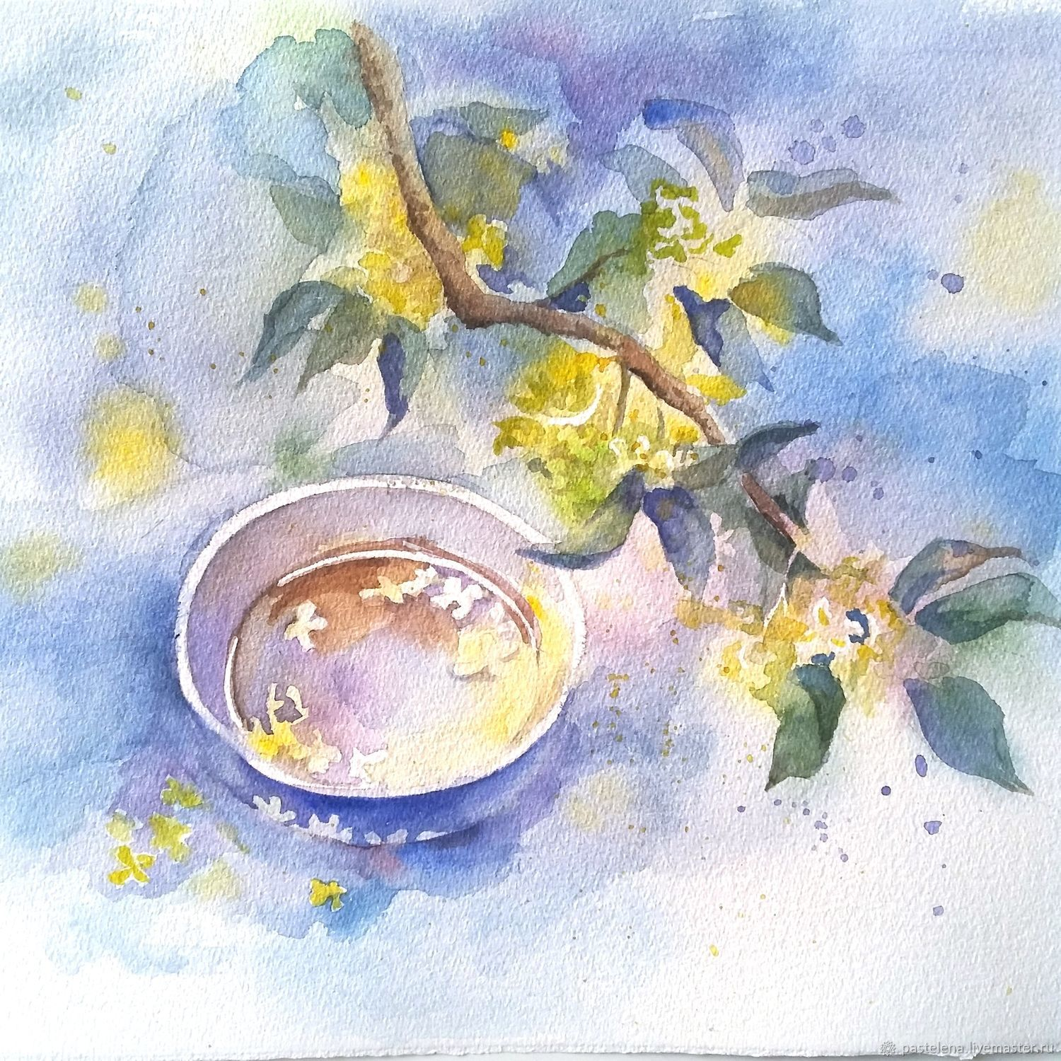 Transparent the afternoon Painting watercolors (blue, yellow, green), Pictures, ,  Фото №1