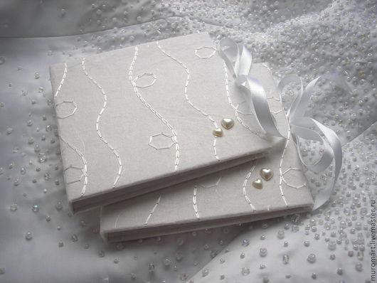 """Подарочная упаковка ручной работы. Ярмарка Мастеров - ручная работа. Купить Коробка для дисков """"Шелковая нить"""". Handmade. Белый"""