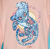handmade. Livemaster - original item Hoodie sweatshirt Tiger and flowers hand painted. Handmade.