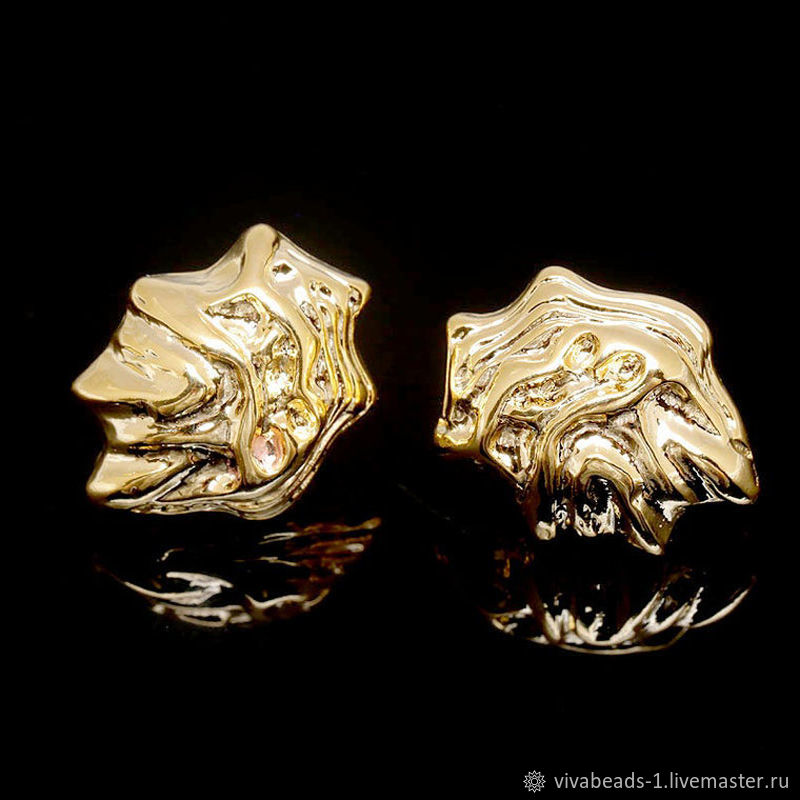 Earrings studs 13h17 mm gold plated th. Korea (4816), Schwenzy, Voronezh,  Фото №1