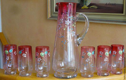 Винтажная посуда. Ярмарка Мастеров - ручная работа. Купить Кувшин и 6 стаканов клюквенное стекло. Без повреждений. Handmade. Фуксия