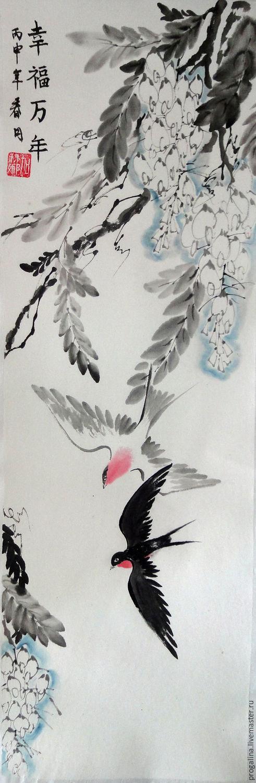 Животные ручной работы. Ярмарка Мастеров - ручная работа. Купить Полёт ласточек. Handmade. Китайская живопись, картина с птицами, красный