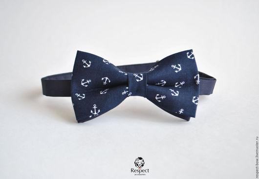 Галстуки, бабочки ручной работы. Ярмарка Мастеров - ручная работа. Купить Темно синяя бабочка галстук с якорями/ вечеринка свадьба морской стиль. Handmade.