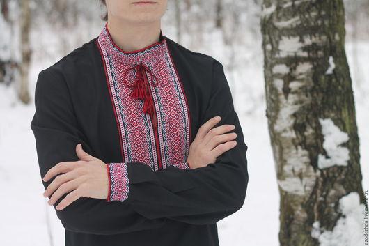 """Одежда ручной работы. Ярмарка Мастеров - ручная работа. Купить Мужская рубашка с вышивкой """"Благовест"""". Handmade. Черный, рубаха мужская"""