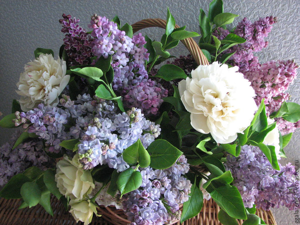 Bouquet in the basket lilacs and peonies floral sculpture out of bouquet in the basket lilacs and peonies izmirmasajfo Images