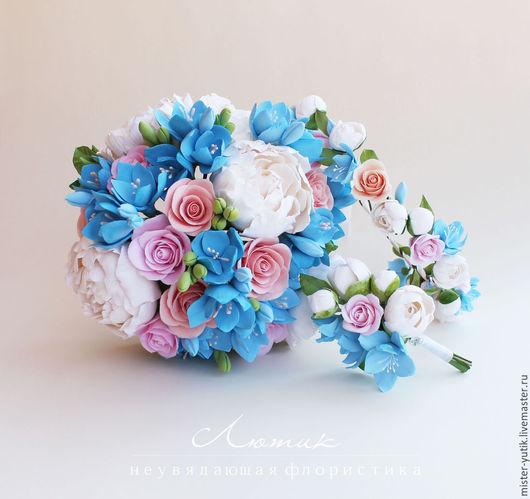 Свадебные цветы ручной работы. Ярмарка Мастеров - ручная работа. Купить Букет невесты с пионами,розами и фрезией из полимерной глины. Handmade.