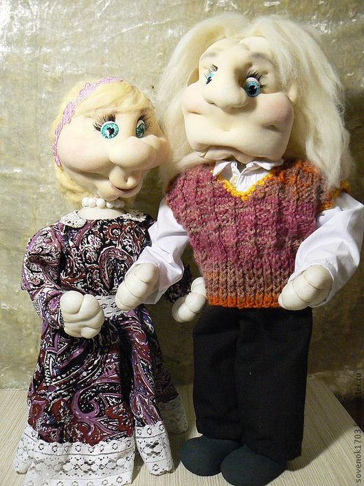 """Человечки ручной работы. Ярмарка Мастеров - ручная работа. Купить Куклы """"Семейная пара"""". Handmade. Подарок на свадьбу, папье-маше"""